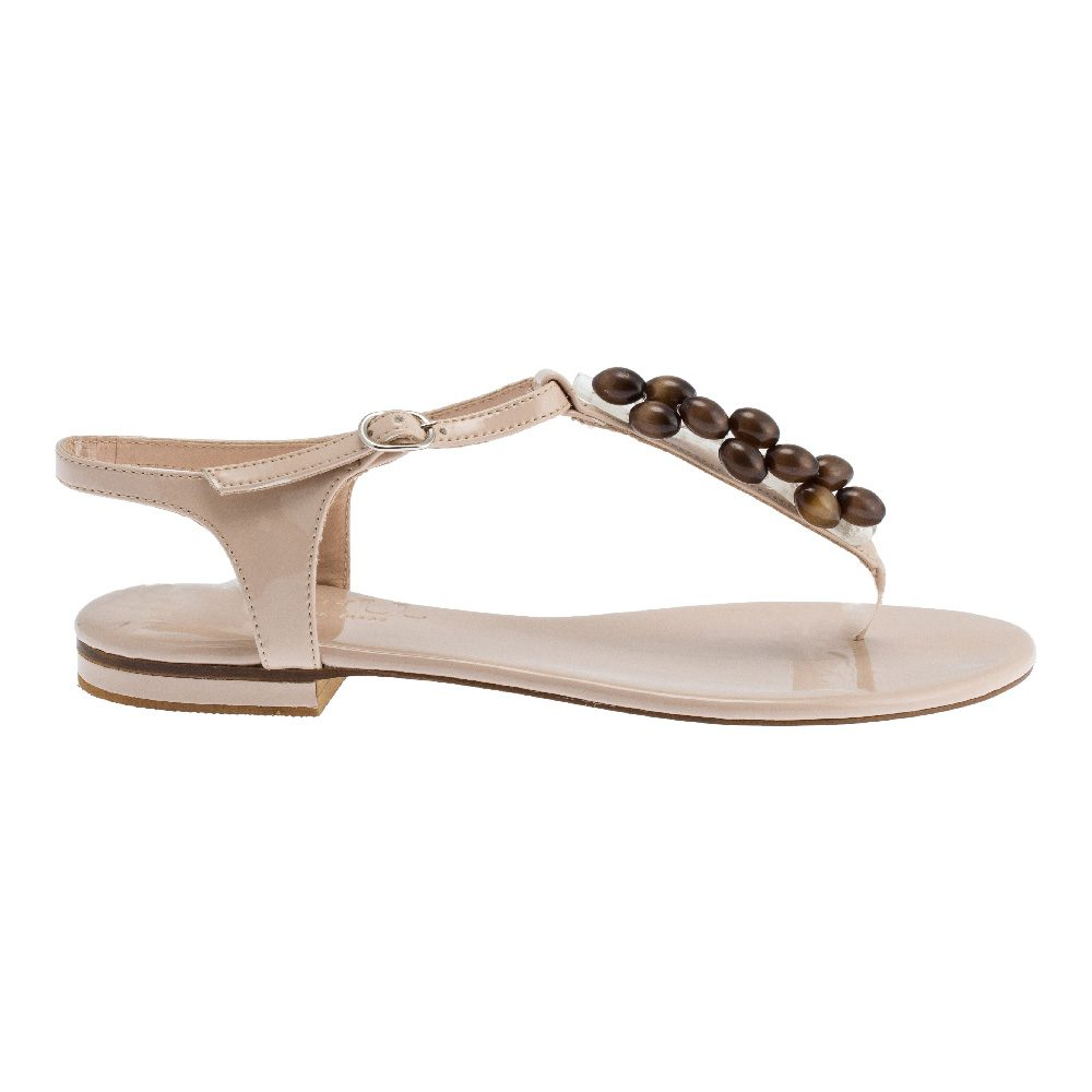 Nude Tiger-Eye Stones Sandals